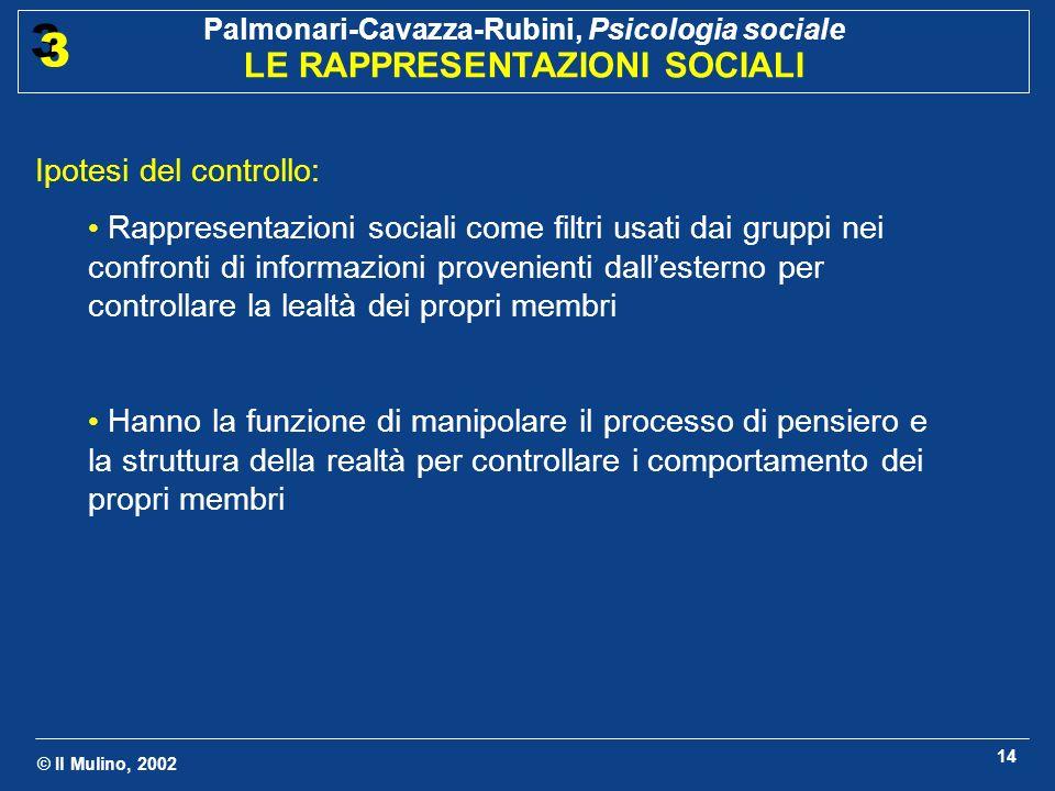 © Il Mulino, 2002 Palmonari-Cavazza-Rubini, Psicologia sociale LE RAPPRESENTAZIONI SOCIALI 3 3 14 Ipotesi del controllo: Rappresentazioni sociali come