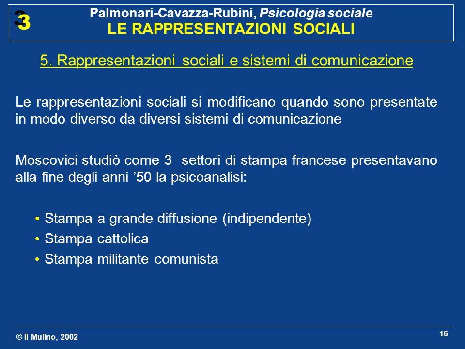 © Il Mulino, 2002 Palmonari-Cavazza-Rubini, Psicologia sociale LE RAPPRESENTAZIONI SOCIALI 3 3 16 5. Rappresentazioni sociali e sistemi di comunicazio