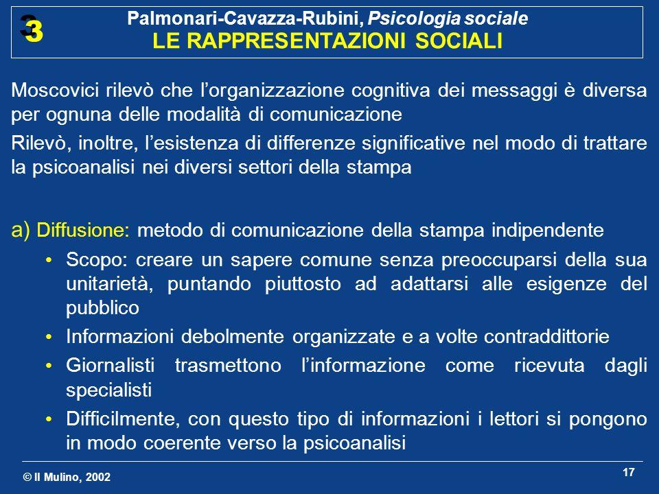 © Il Mulino, 2002 Palmonari-Cavazza-Rubini, Psicologia sociale LE RAPPRESENTAZIONI SOCIALI 3 3 17 Moscovici rilevò che lorganizzazione cognitiva dei m