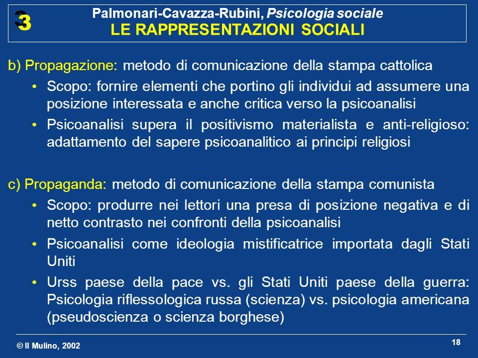 © Il Mulino, 2002 Palmonari-Cavazza-Rubini, Psicologia sociale LE RAPPRESENTAZIONI SOCIALI 3 3 18 b) Propagazione: metodo di comunicazione della stamp