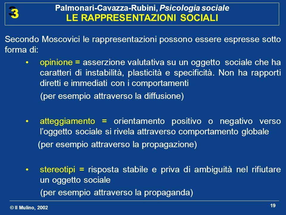© Il Mulino, 2002 Palmonari-Cavazza-Rubini, Psicologia sociale LE RAPPRESENTAZIONI SOCIALI 3 3 19 Secondo Moscovici le rappresentazioni possono essere