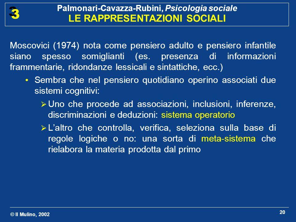 © Il Mulino, 2002 Palmonari-Cavazza-Rubini, Psicologia sociale LE RAPPRESENTAZIONI SOCIALI 3 3 20 Moscovici (1974) nota come pensiero adulto e pensier
