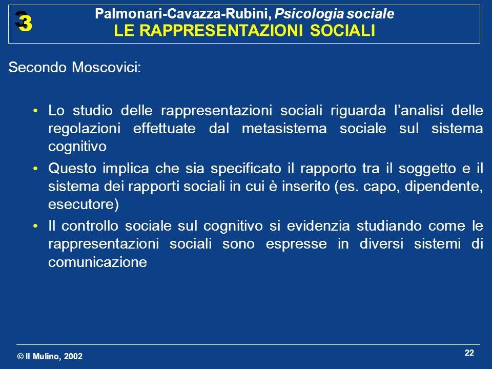 © Il Mulino, 2002 Palmonari-Cavazza-Rubini, Psicologia sociale LE RAPPRESENTAZIONI SOCIALI 3 3 22 Secondo Moscovici: Lo studio delle rappresentazioni