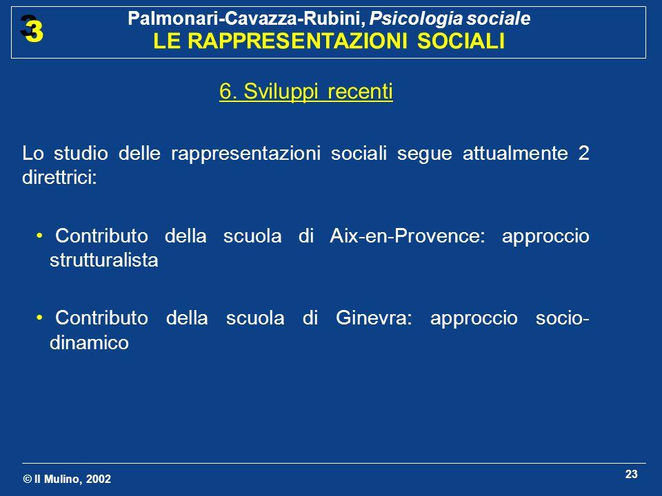 © Il Mulino, 2002 Palmonari-Cavazza-Rubini, Psicologia sociale LE RAPPRESENTAZIONI SOCIALI 3 3 23 6. Sviluppi recenti Lo studio delle rappresentazioni