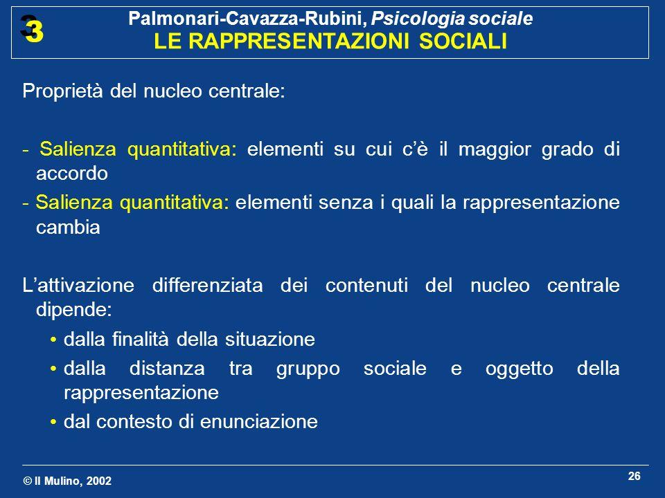 © Il Mulino, 2002 Palmonari-Cavazza-Rubini, Psicologia sociale LE RAPPRESENTAZIONI SOCIALI 3 3 26 Proprietà del nucleo centrale: - Salienza quantitati