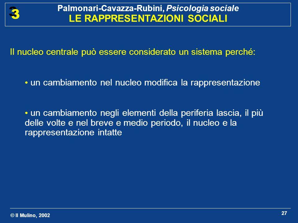 © Il Mulino, 2002 Palmonari-Cavazza-Rubini, Psicologia sociale LE RAPPRESENTAZIONI SOCIALI 3 3 27 Il nucleo centrale può essere considerato un sistema