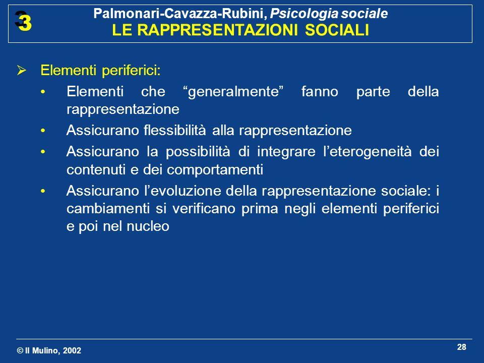 © Il Mulino, 2002 Palmonari-Cavazza-Rubini, Psicologia sociale LE RAPPRESENTAZIONI SOCIALI 3 3 28 Elementi periferici: Elementi che generalmente fanno