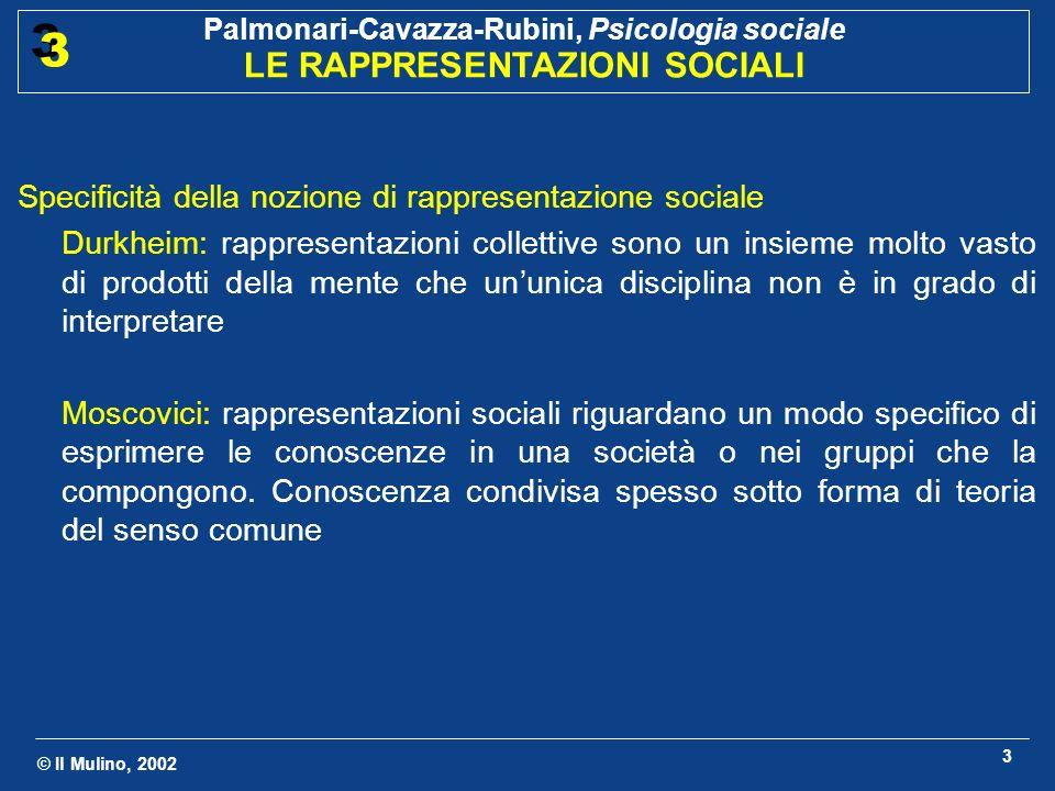 © Il Mulino, 2002 Palmonari-Cavazza-Rubini, Psicologia sociale LE RAPPRESENTAZIONI SOCIALI 3 3 3 Specificità della nozione di rappresentazione sociale