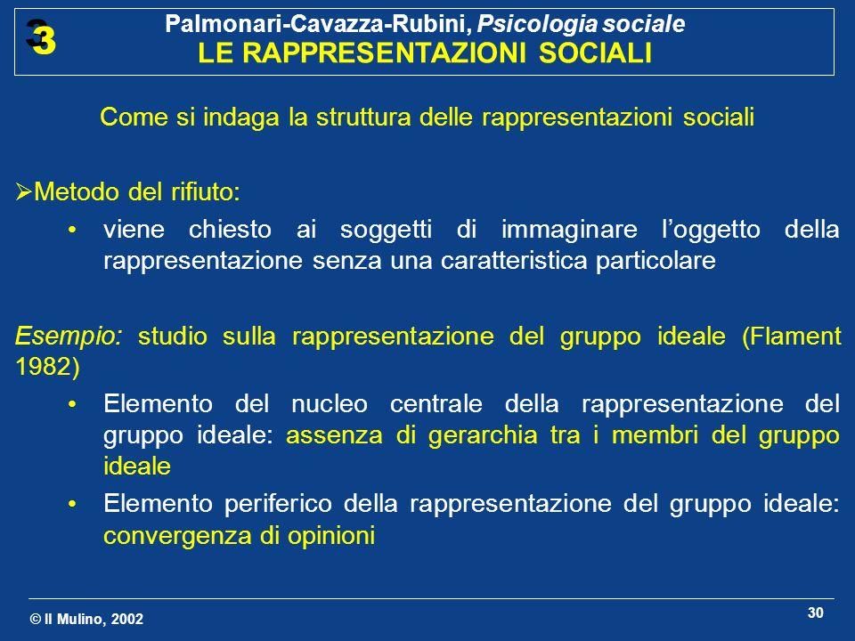 © Il Mulino, 2002 Palmonari-Cavazza-Rubini, Psicologia sociale LE RAPPRESENTAZIONI SOCIALI 3 3 30 Come si indaga la struttura delle rappresentazioni s