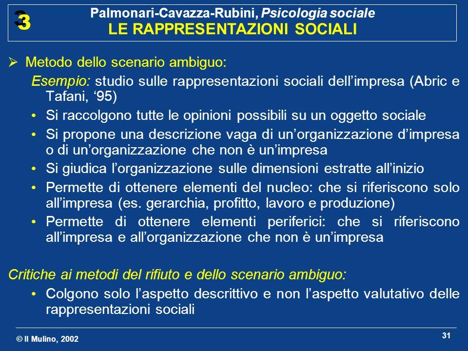 © Il Mulino, 2002 Palmonari-Cavazza-Rubini, Psicologia sociale LE RAPPRESENTAZIONI SOCIALI 3 3 31 Metodo dello scenario ambiguo: Esempio: studio sulle