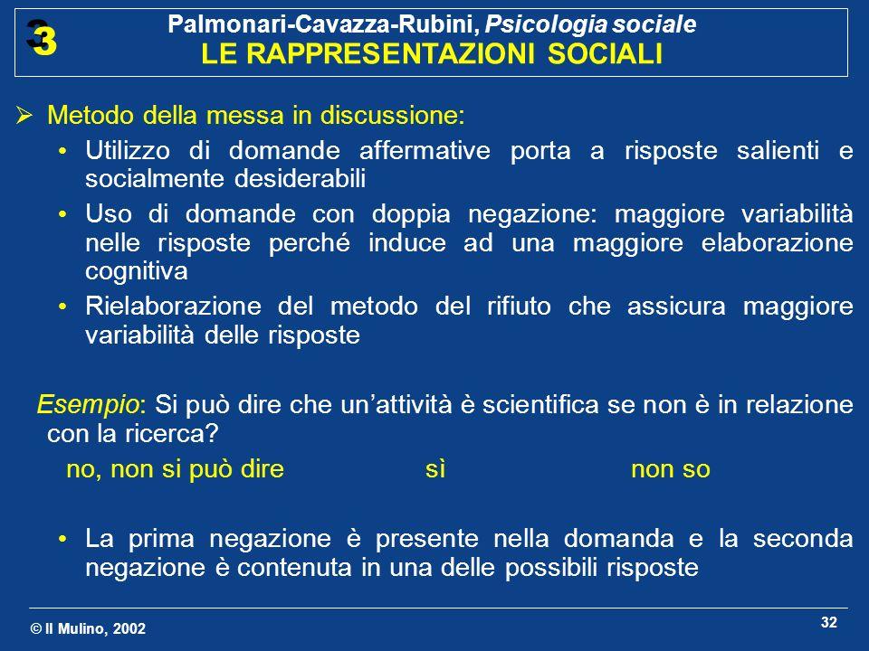 © Il Mulino, 2002 Palmonari-Cavazza-Rubini, Psicologia sociale LE RAPPRESENTAZIONI SOCIALI 3 3 32 Metodo della messa in discussione: Utilizzo di doman