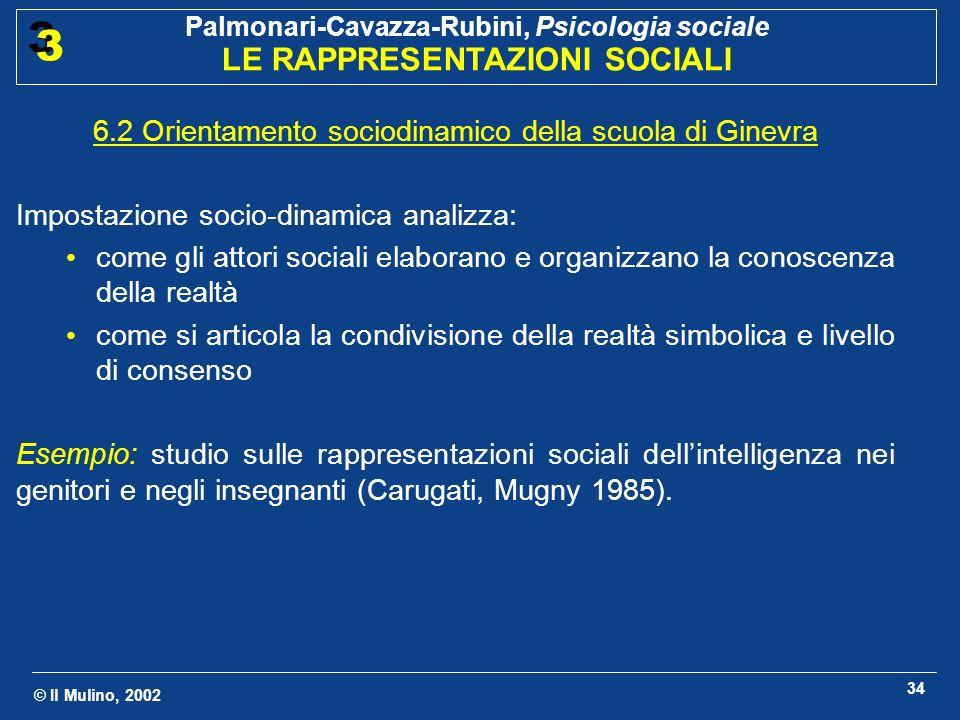 © Il Mulino, 2002 Palmonari-Cavazza-Rubini, Psicologia sociale LE RAPPRESENTAZIONI SOCIALI 3 3 34 6.2 Orientamento sociodinamico della scuola di Ginev