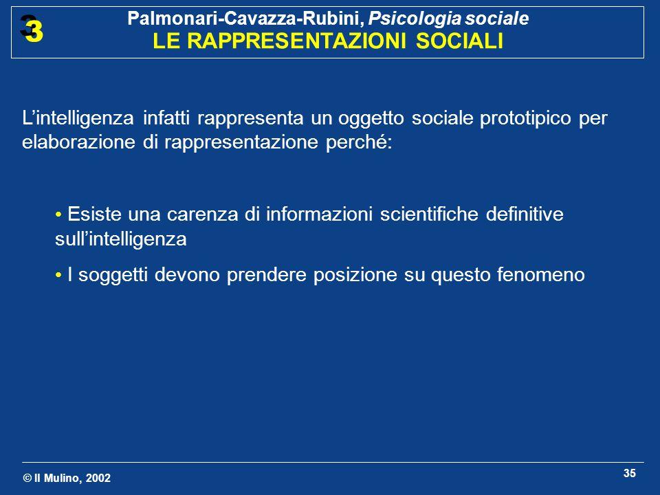 © Il Mulino, 2002 Palmonari-Cavazza-Rubini, Psicologia sociale LE RAPPRESENTAZIONI SOCIALI 3 3 35 Lintelligenza infatti rappresenta un oggetto sociale