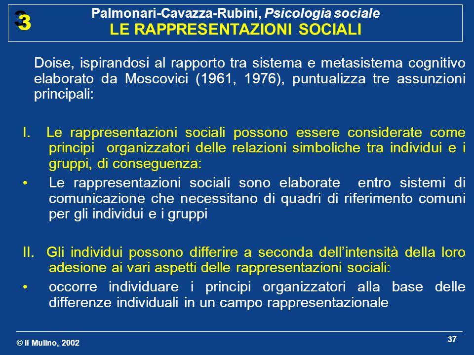 © Il Mulino, 2002 Palmonari-Cavazza-Rubini, Psicologia sociale LE RAPPRESENTAZIONI SOCIALI 3 3 37 Doise, ispirandosi al rapporto tra sistema e metasis