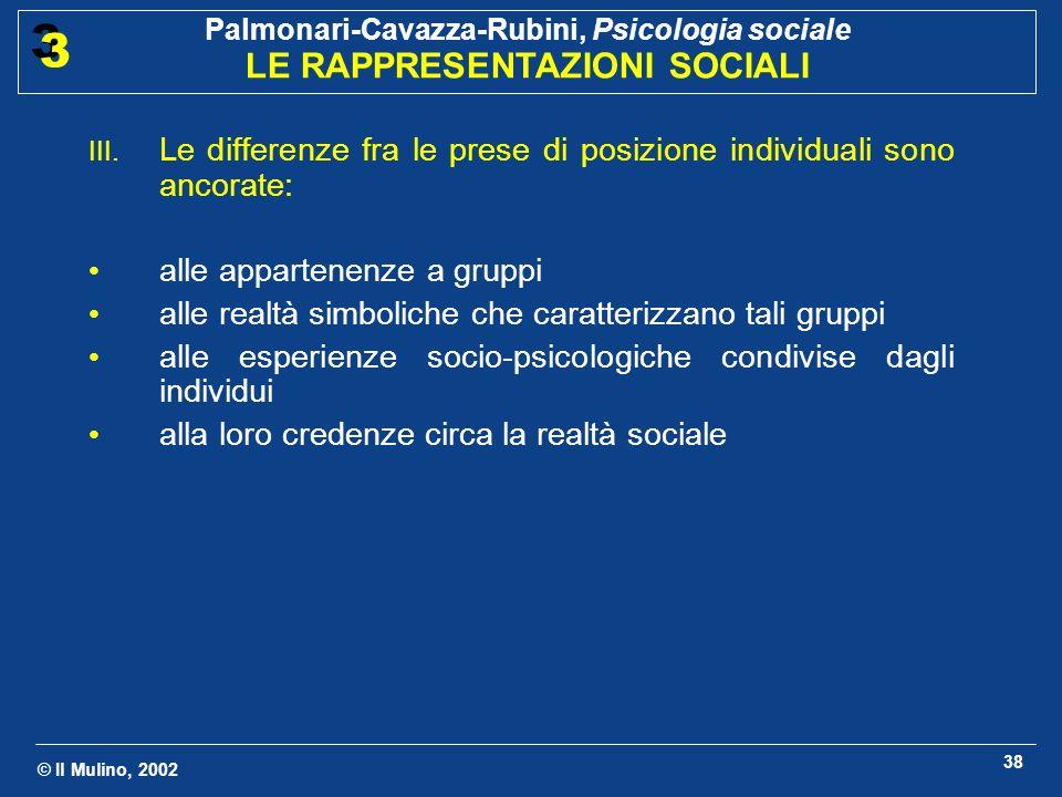 © Il Mulino, 2002 Palmonari-Cavazza-Rubini, Psicologia sociale LE RAPPRESENTAZIONI SOCIALI 3 3 38 III. Le differenze fra le prese di posizione individ