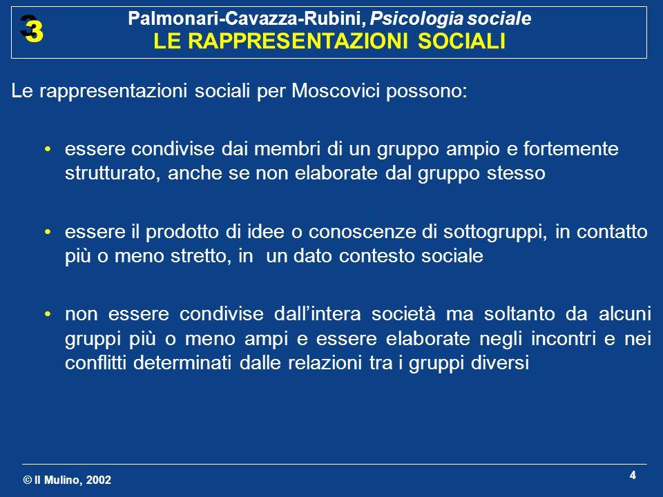 © Il Mulino, 2002 Palmonari-Cavazza-Rubini, Psicologia sociale LE RAPPRESENTAZIONI SOCIALI 3 3 4 Le rappresentazioni sociali per Moscovici possono: es