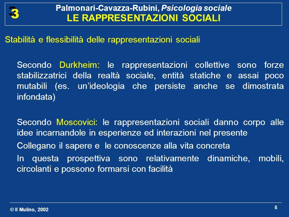 © Il Mulino, 2002 Palmonari-Cavazza-Rubini, Psicologia sociale LE RAPPRESENTAZIONI SOCIALI 3 3 5 Stabilità e flessibilità delle rappresentazioni socia