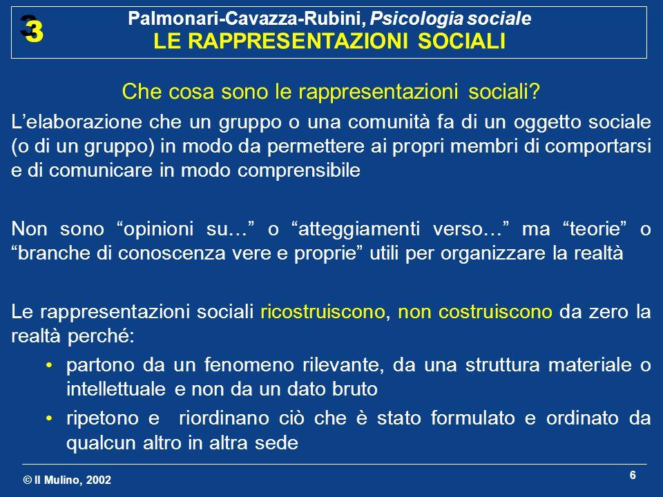 © Il Mulino, 2002 Palmonari-Cavazza-Rubini, Psicologia sociale LE RAPPRESENTAZIONI SOCIALI 3 3 6 Che cosa sono le rappresentazioni sociali? Lelaborazi