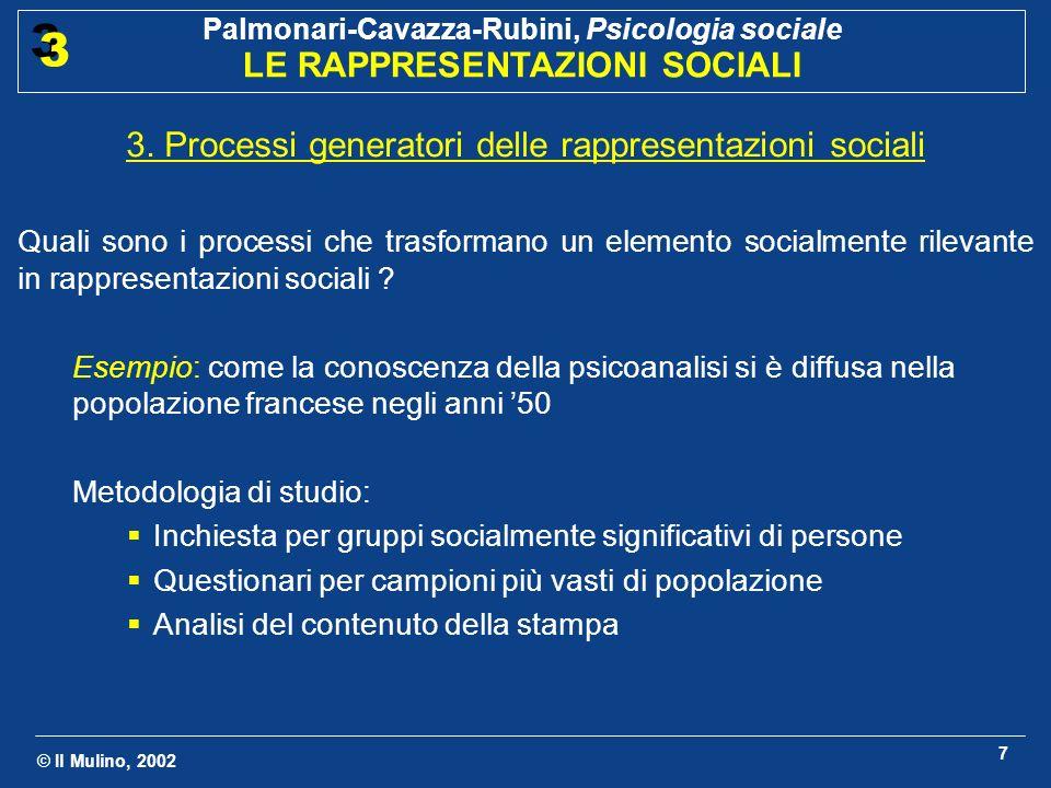 © Il Mulino, 2002 Palmonari-Cavazza-Rubini, Psicologia sociale LE RAPPRESENTAZIONI SOCIALI 3 3 7 3. Processi generatori delle rappresentazioni sociali