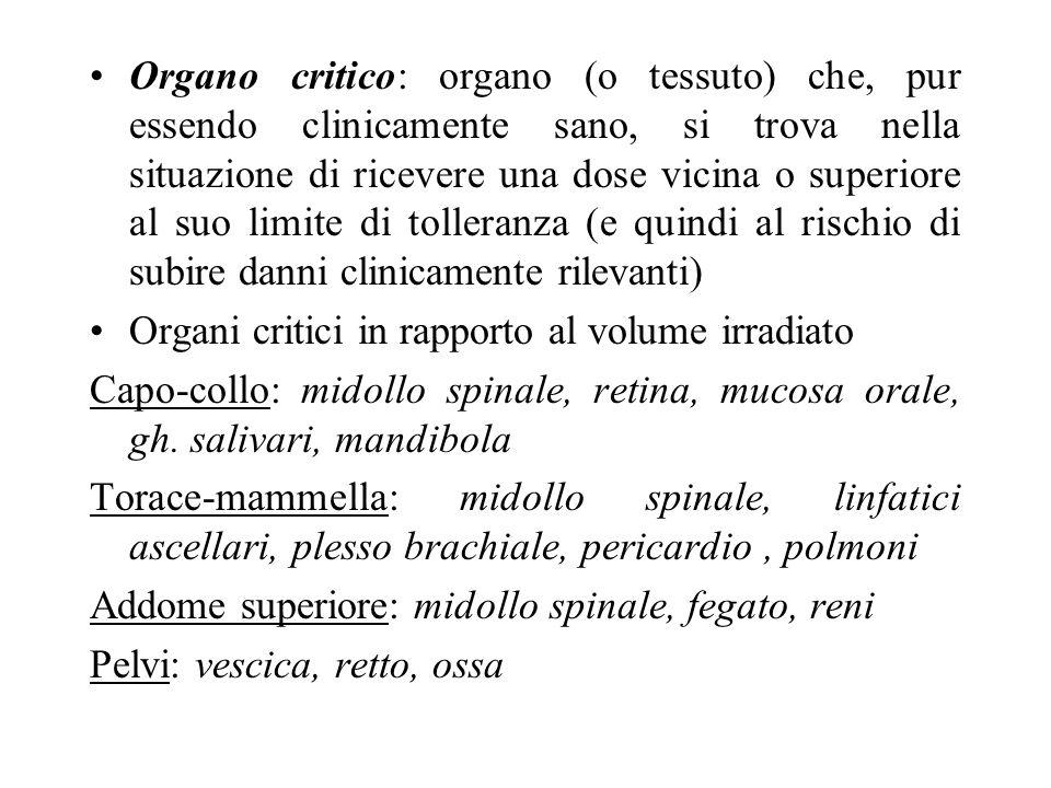Organo critico: organo (o tessuto) che, pur essendo clinicamente sano, si trova nella situazione di ricevere una dose vicina o superiore al suo limite