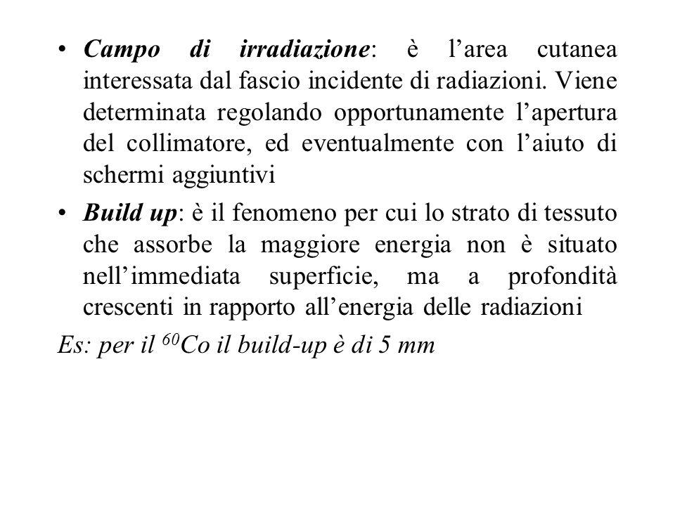 Campo di irradiazione: è larea cutanea interessata dal fascio incidente di radiazioni. Viene determinata regolando opportunamente lapertura del collim