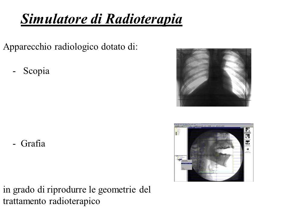 Simulatore di Radioterapia Apparecchio radiologico dotato di: - Scopia - Grafia in grado di riprodurre le geometrie del trattamento radioterapico