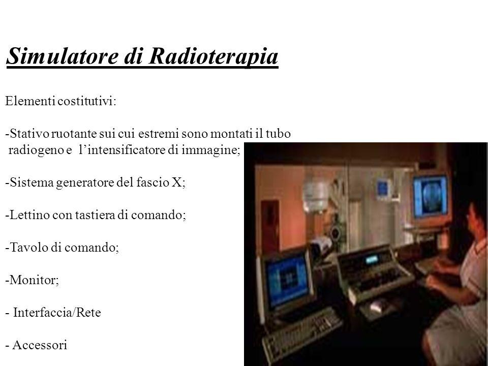 Simulatore di Radioterapia Elementi costitutivi: -Stativo ruotante sui cui estremi sono montati il tubo radiogeno e lintensificatore di immagine; -Sis