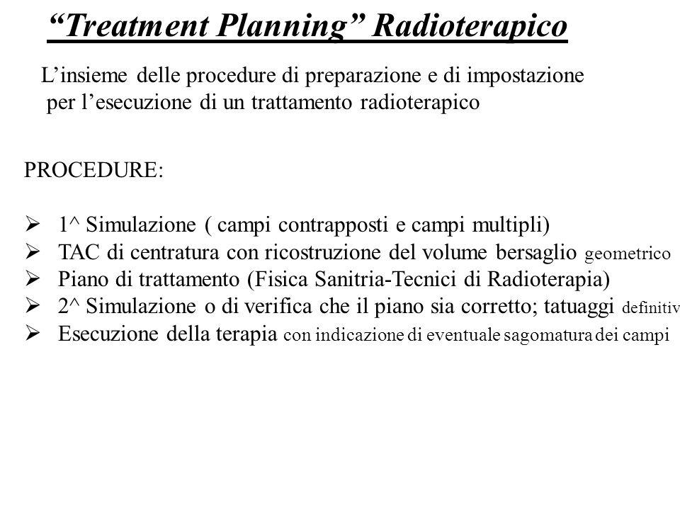 Treatment Planning Radioterapico Linsieme delle procedure di preparazione e di impostazione per lesecuzione di un trattamento radioterapico PROCEDURE:
