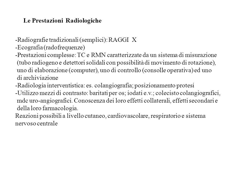 Le Prestazioni Radiologiche -Radiografie tradizionali (semplici): RAGGI X -Ecografia (radofrequenze) -Prestazioni complesse: TC e RMN caratterizzate d