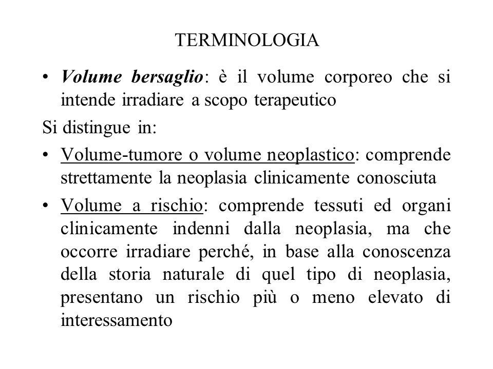 TERMINOLOGIA Volume bersaglio: è il volume corporeo che si intende irradiare a scopo terapeutico Si distingue in: Volume-tumore o volume neoplastico: