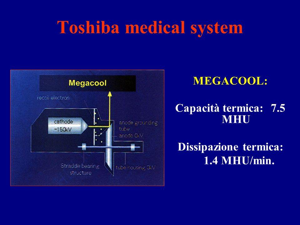 Toshiba medical system MEGACOOL: Capacità termica: 7.5 MHU Dissipazione termica: 1.4 MHU/min.