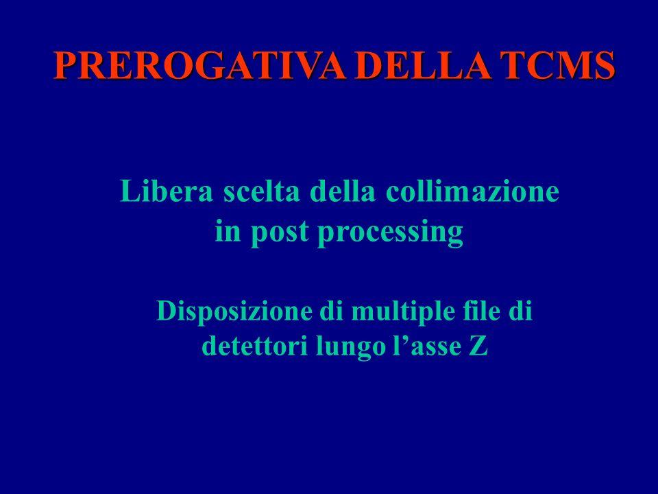 PREROGATIVA DELLA TCMS Disposizione di multiple file di detettori lungo lasse Z Libera scelta della collimazione in post processing