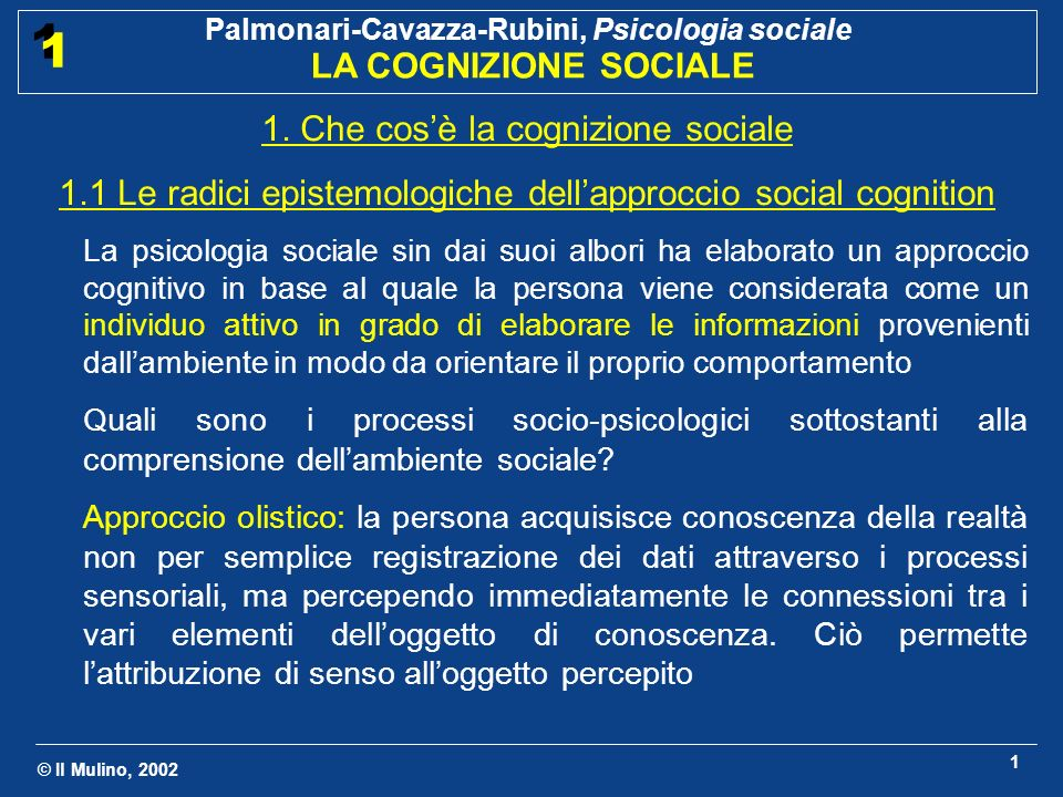 © Il Mulino, 2002 Palmonari-Cavazza-Rubini, Psicologia sociale LA COGNIZIONE SOCIALE 1 1 12 2.2 Diversi tipi di schemi sociali Schemi di persona Contengono le informazioni utilizzate per descrivere le persone in base a tratti di personalità (simpatico, aggressivo) o altre caratteristiche che le distinguono (studente di psicologia) Inducono aspettative che influenzano il ricordo di azioni e la comprensione di nuove informazioni (Zadny e Gerard, 1974) Schemi di sé Contengono le informazioni relative a se stessi.