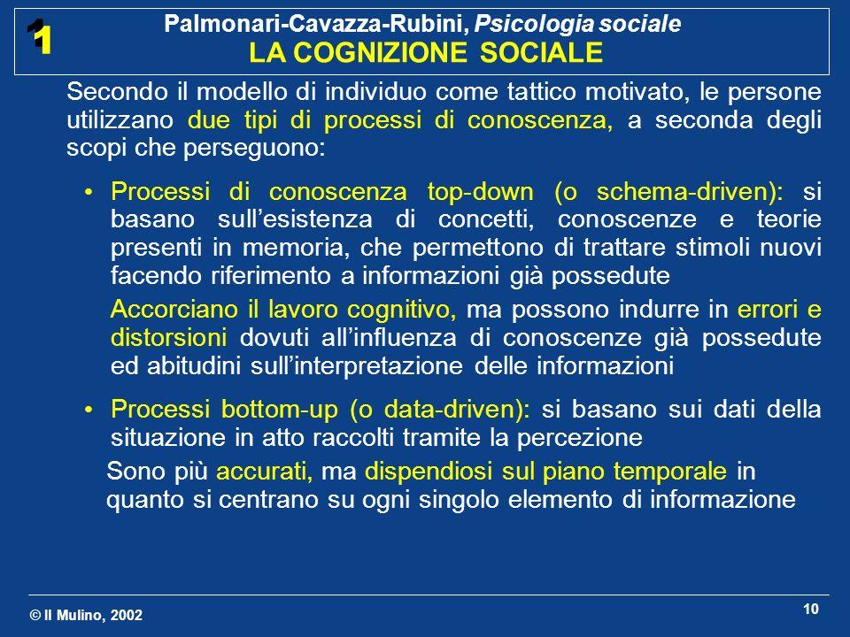 © Il Mulino, 2002 Palmonari-Cavazza-Rubini, Psicologia sociale LA COGNIZIONE SOCIALE 1 1 10 Secondo il modello di individuo come tattico motivato, le