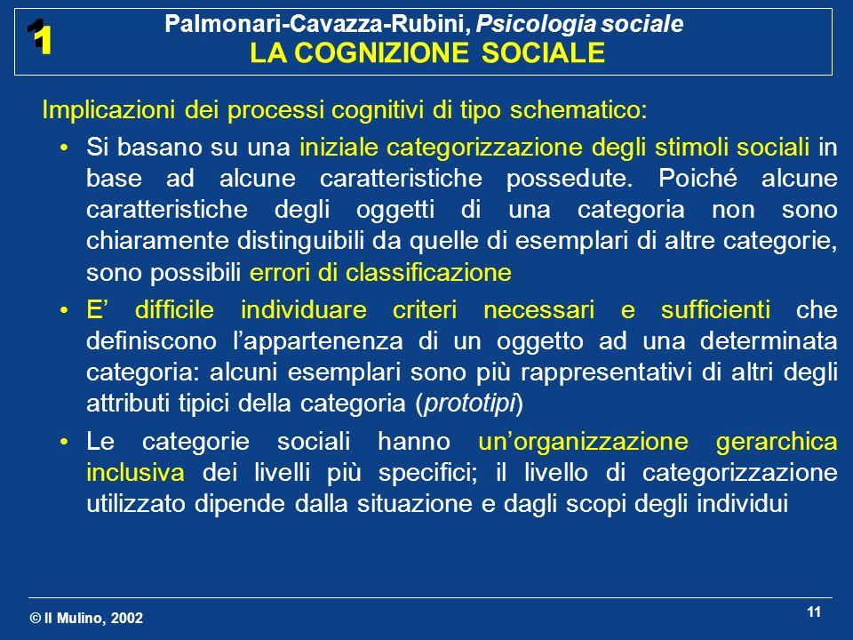 © Il Mulino, 2002 Palmonari-Cavazza-Rubini, Psicologia sociale LA COGNIZIONE SOCIALE 1 1 11 Implicazioni dei processi cognitivi di tipo schematico: Si