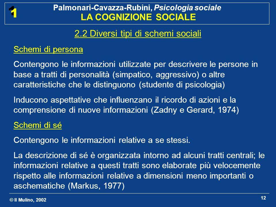 © Il Mulino, 2002 Palmonari-Cavazza-Rubini, Psicologia sociale LA COGNIZIONE SOCIALE 1 1 12 2.2 Diversi tipi di schemi sociali Schemi di persona Conte