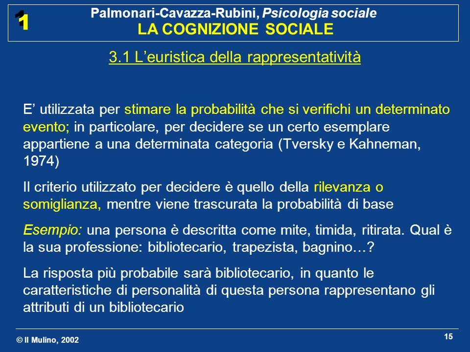 © Il Mulino, 2002 Palmonari-Cavazza-Rubini, Psicologia sociale LA COGNIZIONE SOCIALE 1 1 15 3.1 Leuristica della rappresentatività E utilizzata per st