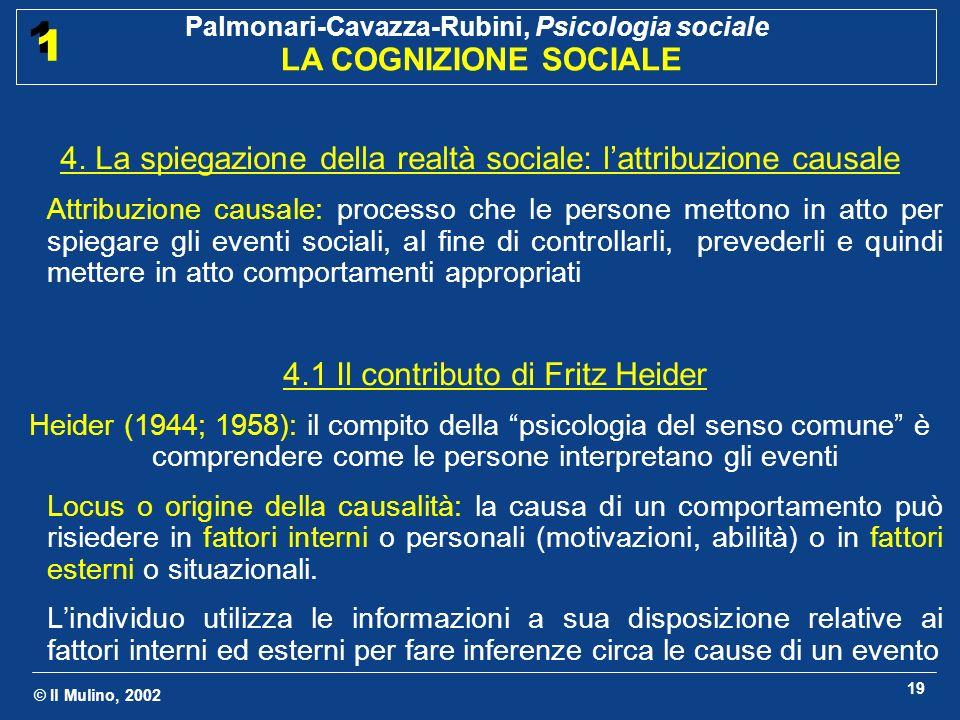 © Il Mulino, 2002 Palmonari-Cavazza-Rubini, Psicologia sociale LA COGNIZIONE SOCIALE 1 1 19 4. La spiegazione della realtà sociale: lattribuzione caus