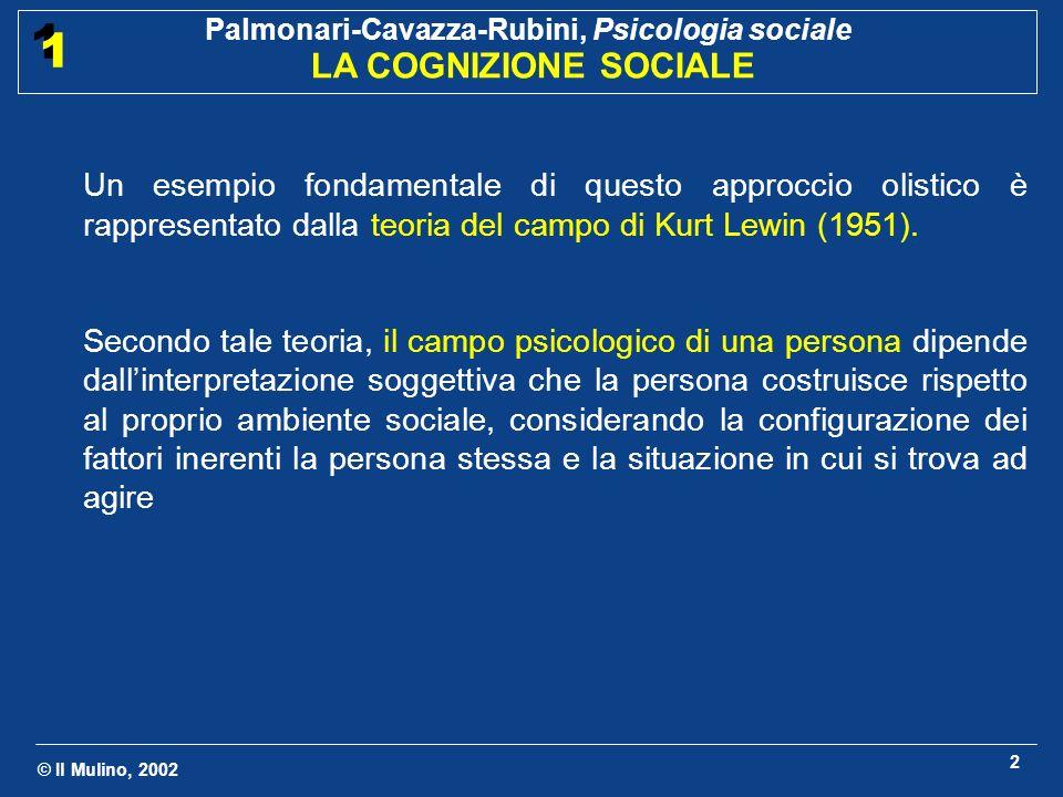 © Il Mulino, 2002 Palmonari-Cavazza-Rubini, Psicologia sociale LA COGNIZIONE SOCIALE 1 1 3 Social cognition: sviluppo di diversi modelli di individuo Modello di individuo come ricercatore di coerenza (Anni 50 - 60) Lo stato di incoerenza fra credenze o sentimenti è di per sé motivante al ripristino della coerenza tramite cambiamento dellatteggiamento in questione Modelli della coerenza cognitiva di Festinger (1957) e Heider (1958)