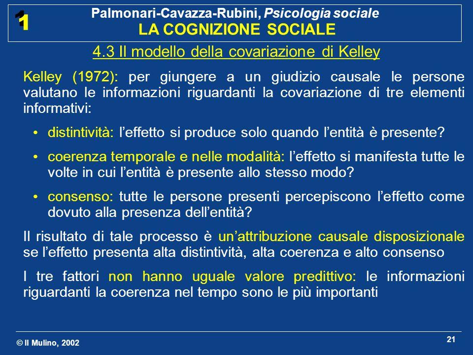 © Il Mulino, 2002 Palmonari-Cavazza-Rubini, Psicologia sociale LA COGNIZIONE SOCIALE 1 1 21 4.3 Il modello della covariazione di Kelley Kelley (1972):