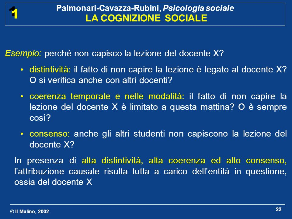 © Il Mulino, 2002 Palmonari-Cavazza-Rubini, Psicologia sociale LA COGNIZIONE SOCIALE 1 1 22 Esempio: perché non capisco la lezione del docente X? dist
