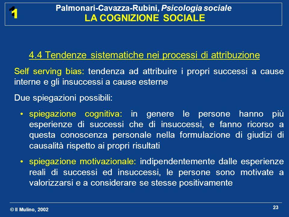 © Il Mulino, 2002 Palmonari-Cavazza-Rubini, Psicologia sociale LA COGNIZIONE SOCIALE 1 1 23 4.4 Tendenze sistematiche nei processi di attribuzione Sel