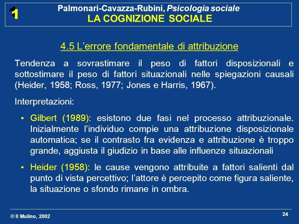 © Il Mulino, 2002 Palmonari-Cavazza-Rubini, Psicologia sociale LA COGNIZIONE SOCIALE 1 1 24 4.5 Lerrore fondamentale di attribuzione Tendenza a sovras