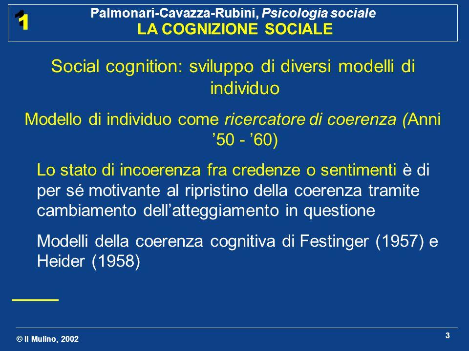 © Il Mulino, 2002 Palmonari-Cavazza-Rubini, Psicologia sociale LA COGNIZIONE SOCIALE 1 1 4 Modello di individuo come scienziato ingenuo (anni 70) Come uno scienziato, lindividuo, dotato di capacità logico - razionali, raccoglie i dati necessari alla conoscenza di un certo oggetto e giunge a conclusioni logiche.