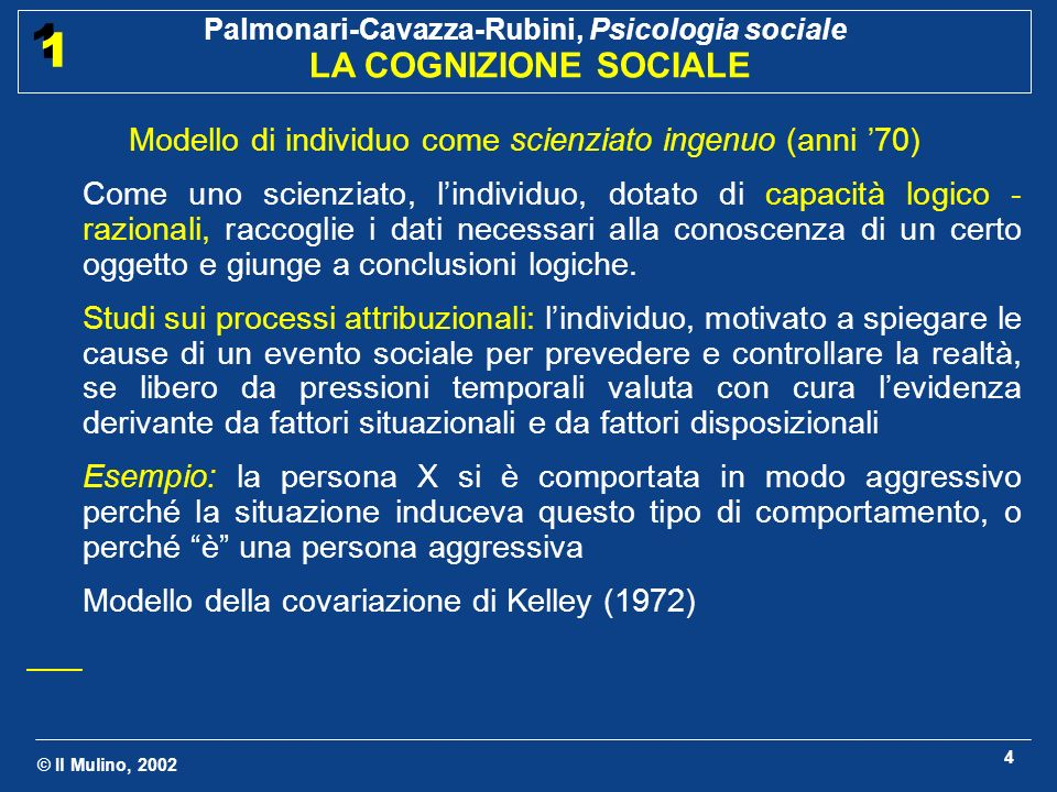 © Il Mulino, 2002 Palmonari-Cavazza-Rubini, Psicologia sociale LA COGNIZIONE SOCIALE 1 1 4 Modello di individuo come scienziato ingenuo (anni 70) Come