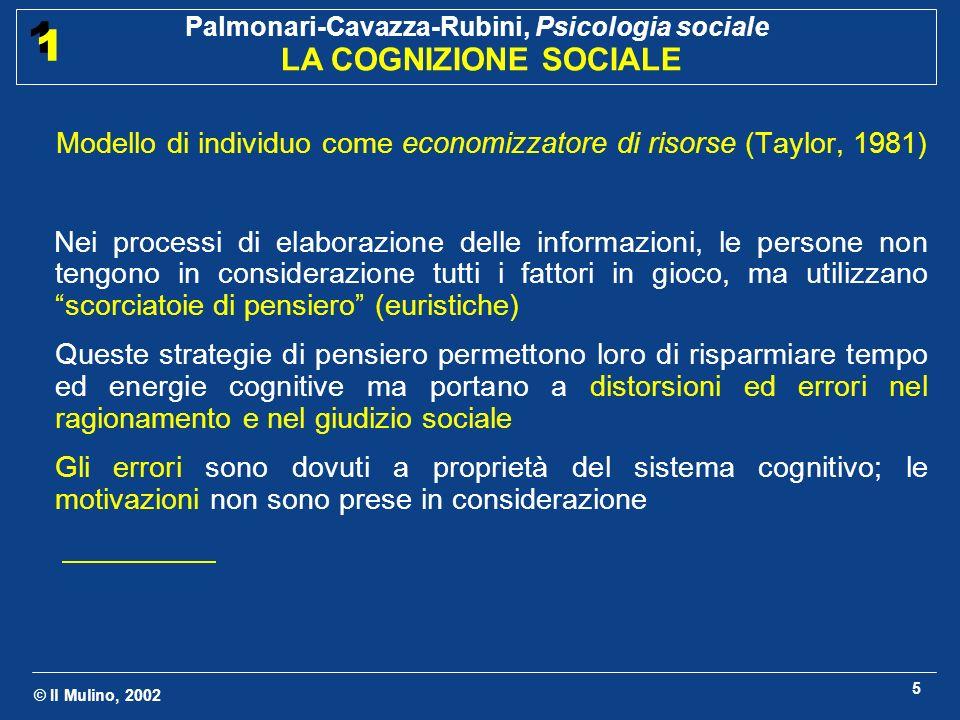 © Il Mulino, 2002 Palmonari-Cavazza-Rubini, Psicologia sociale LA COGNIZIONE SOCIALE 1 1 5 Modello di individuo come economizzatore di risorse (Taylor