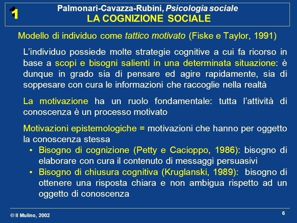 © Il Mulino, 2002 Palmonari-Cavazza-Rubini, Psicologia sociale LA COGNIZIONE SOCIALE 1 1 6 Modello di individuo come tattico motivato (Fiske e Taylor,