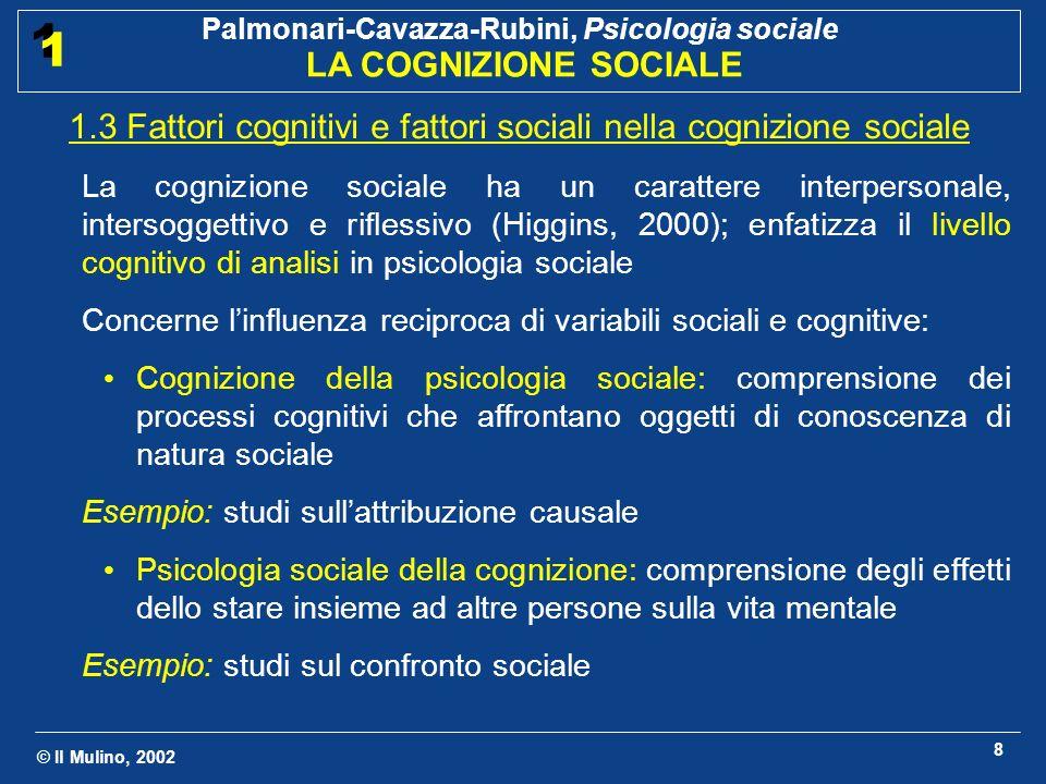 © Il Mulino, 2002 Palmonari-Cavazza-Rubini, Psicologia sociale LA COGNIZIONE SOCIALE 1 1 8 1.3 Fattori cognitivi e fattori sociali nella cognizione so