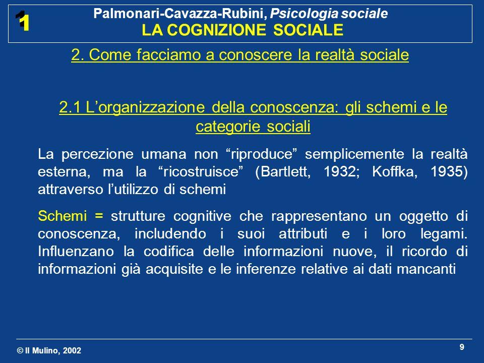 © Il Mulino, 2002 Palmonari-Cavazza-Rubini, Psicologia sociale LA COGNIZIONE SOCIALE 1 1 9 2. Come facciamo a conoscere la realtà sociale 2.1 Lorganiz