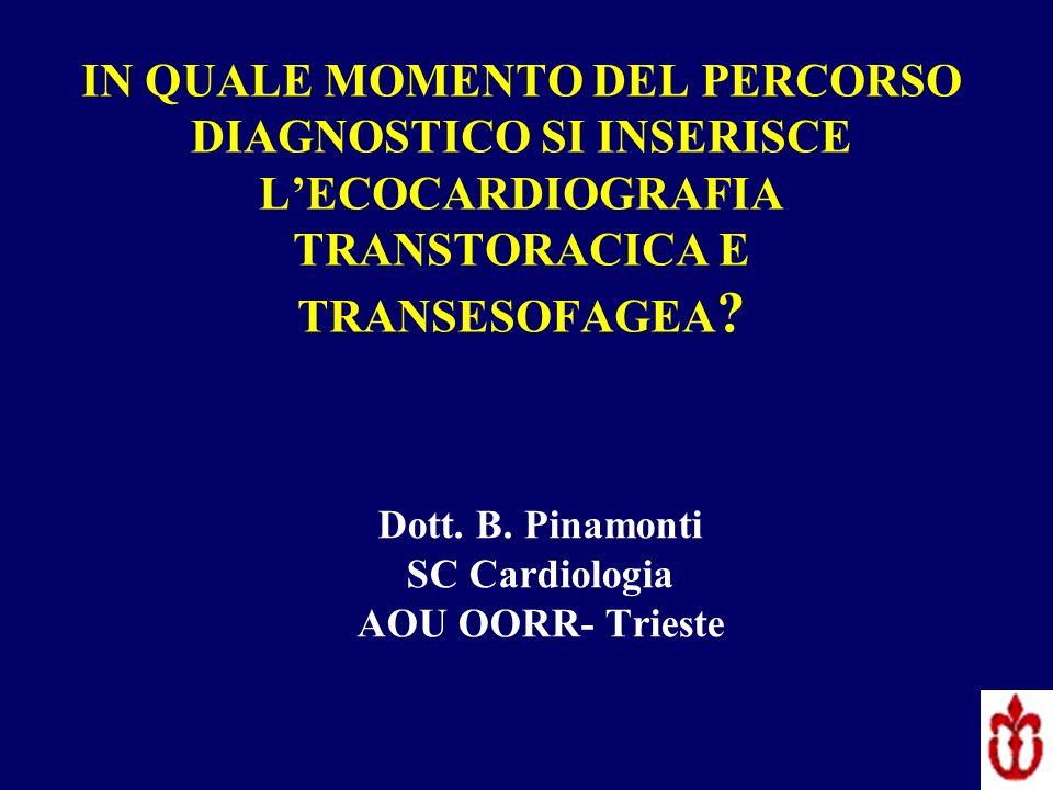 IN QUALE MOMENTO DEL PERCORSO DIAGNOSTICO SI INSERISCE LECOCARDIOGRAFIA TRANSTORACICA E TRANSESOFAGEA ? Dott. B. Pinamonti SC Cardiologia AOU OORR- Tr